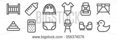 Set Of 12 Baby Icons. Outline Thin Line Icons Such As Duck, Highchair, Sack, Car Chair, Baby Park, F