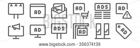 Set Of 12 Advertising Icons. Outline Thin Line Icons Such As Ads, Ads, Ads,