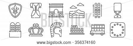 Set Of 12 Travel Icons. Outline Thin Line Icons Such As European Union, Colosseum, Crown, Ski, Arc D