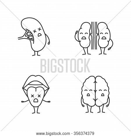 Sad Human Internal Organs Characters Linear Icons Set. Thin Line Contour Symbols. Unhappy Tongue, Br