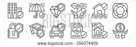 Set Of 12 Insurance Icons. Outline Thin Line Icons Such As Money, Life Insurance, Mortarboard, Flood