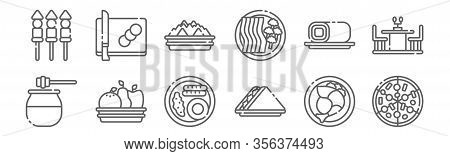 Set Of 12 Gastronomy Icons. Outline Thin Line Icons Such As Pizza, Sandwich, Fruits, Roll Cake, Snac