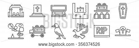 Set Of 12 Funeral Icons. Outline Thin Line Icons Such As Military, Pigeon, Hearse, Ceremony, Coffin,