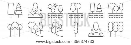 Set Of 12 Environment Icons. Outline Thin Line Icons Such As Tree, Tree, Tree,