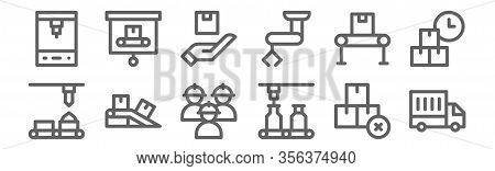 Set Of 12 Mass Producction Icons. Outline Thin Line Icons Such As Delivery Truck, Conveyor, Conveyor