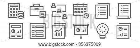 Set Of 12 Project Management Icons. Outline Thin Line Icons Such As Research, Presentation, Creative