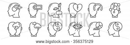 Set Of 12 Human Mind Icons. Outline Thin Line Icons Such As Balance, Vision, Dreaming, Strenght, Gro