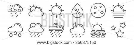 Set Of 12 Weather Icons. Outline Thin Line Icons Such As Stars, Slight Rain, Slight Rain, Moon, Sun,