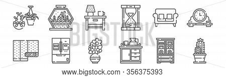 Set Of 12 Home Decoration Icons. Outline Thin Line Icons Such As Cactus, Counter, Refrigerator, Couc