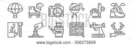 Set Of 12 Hobby Icons. Outline Thin Line Icons Such As Hunting, Philately, Chess, Baseball, Photo Ca