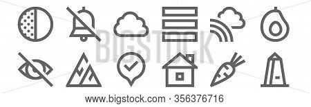 Set Of 12 Miscellaneous Icons. Outline Thin Line Icons Such As Obelisk, House, Mountain, Rainbow, Cl