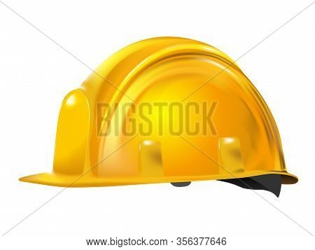 Yellow Or Gold Realistic Working Hard Hat, Construction Helmet Isolated On White Background. Little
