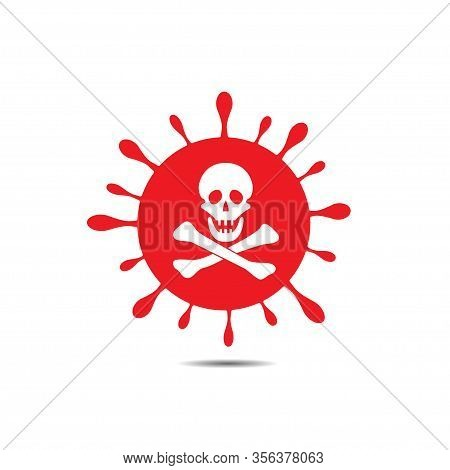 Coronavirus 2019-ncov Icon With Jolly Roger Symbol. Skull And Bones. Red Coronavirus Sign, Pandemic