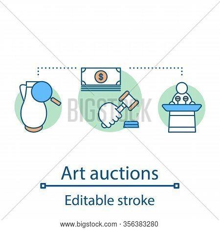 Art Auction Concept Icon. Authenticity Expertise Inspection. Value, Ancient Artifact Sale. Antique U