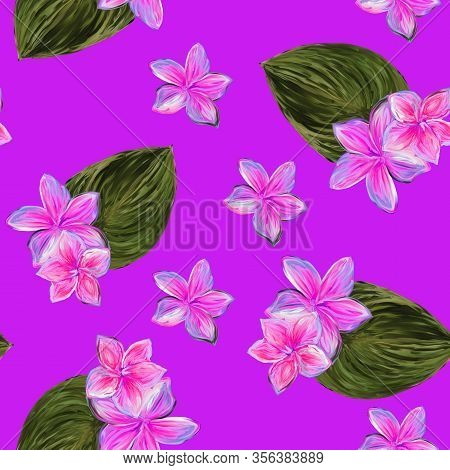 Frangipani Plumeria Tropical Flowers. Seamless Pattern Background. Tropical Pink And Green Floral Su