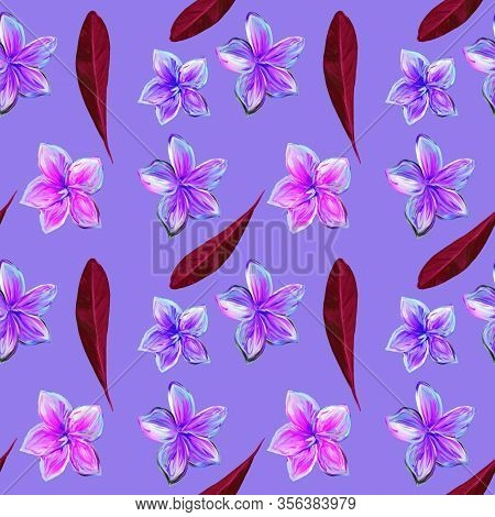 Frangipani Plumeria Tropical Flowers. Seamless Pattern Background. Tropical Claret And Violet Floral