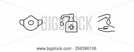 Hygiene Vector Icon Set. Virus Care Black Line Outline Icons Collection. Washing Hands, Use Sanitary