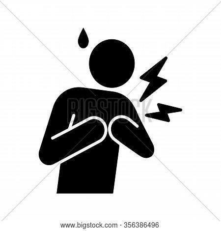 Heart Attack Glyph Icon. Silhouette Symbol. Myocardial Infarction. Cardiovascular Disease. Congestiv