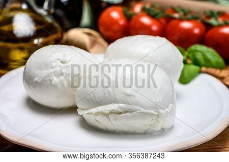 Cheese Collection, White Mozzarella Cheese Balls For Salad Or For Appetizer Snacks From Italian Deli