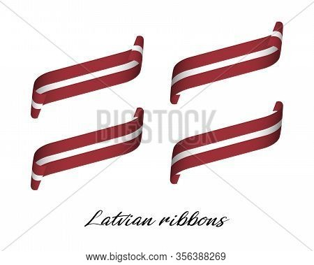 Set Of Four Modern Colored Vector Ribbons With Latvian Colors Isolated On White Background, Flag Of