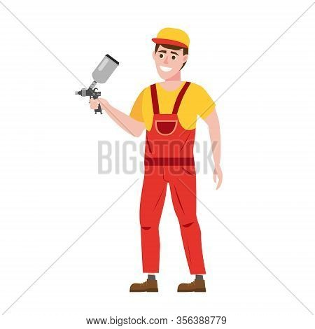 Spray Painter Professional Character Spraying Yellow Paint From Paint Gun Wearing Uniform. Flat Cart