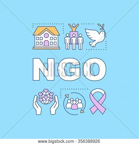 Ngo Word Concepts Banner. Non Governmental, Nonprofit Organization. Presentation, Website. Isolated