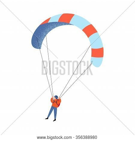 Parachute Jumper In Blue Pants Flying With The Striped Colorful Parachute. Vector Illustration In A