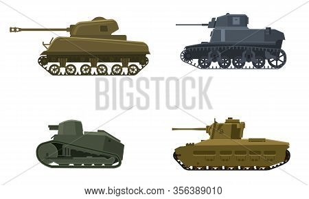 Set Tank American German Britain French World War 2. Military Army Machine War, Weapon, Battle Symbo