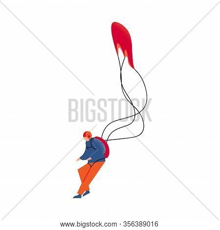 Parachute Jumper In Orange Pants Landing With The Red Parachute. Vector Illustration In A Flat Carto