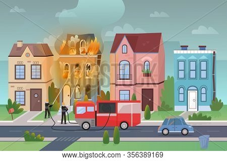 Firemen Fight With Massive Fire At City Living House Flat Cartoon Vector Illustration Panorama