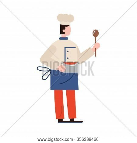 Chef-cook Character Holds A Ladle And Carrying A Meal On A Silver Saucepan. Vector Illustration In F
