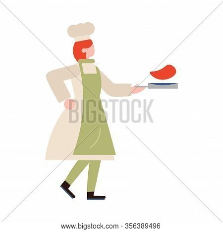 Chef-cook Female Character Carrying Meal On A Skillet. Vector Illustration In Flat Cartoon Style.