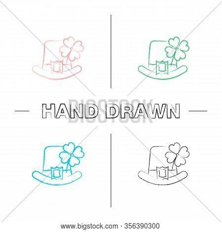 Saint Patricks Day Hand Drawn Icons Set. March 17th. Leprechaun Hat With Four Leaf Clover. Color Bru