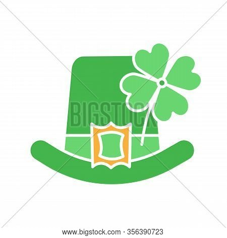 Saint Patricks Day Glyph Color Icon. March 17th. Leprechaun Hat With Four Leaf Clover. Silhouette Sy