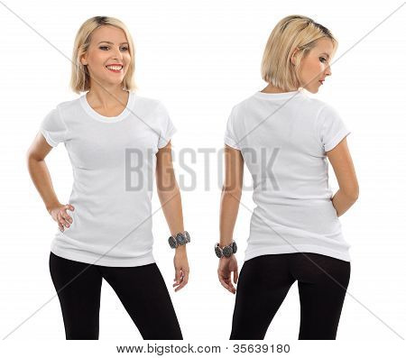 Blond Woman With Blank White Shirt