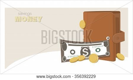 Cash. Wallet, Paper Money, Coins. Purse. Business And Finance Symbol. Wallet With Money, Dollar Bank