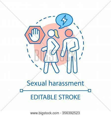 Sexual Harassment Concept Icon. Violence Against Women Idea Thin Line Illustration. Bullying, Coerci