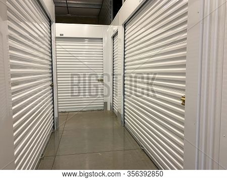 Orlando, Fl/usa-3/14/20: An Interior Of A Storage Space Unit Company At Extra Space Storage.