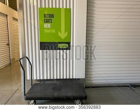 Orlando, Fl/usa-3/14/20: An Interior Of A Storage Space Unit Company At Extra Space Storage With The