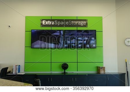 Orlando, Fl/usa-3/14/20: The Sign In The Lobby Of The Extra Space Storage.