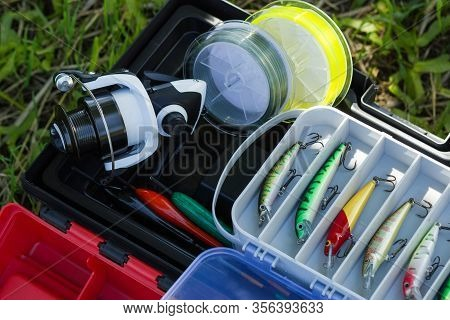 Spinning Reel, Fishing Line, Plastic Tackles, Artificial Lures And Other Hobby Fishing Gear. Outdoor