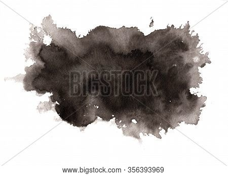 Abstract Expressive Textured Black Ink Or Watercolor Stain. Monochrome Gradient Dynamic Isolated Ink