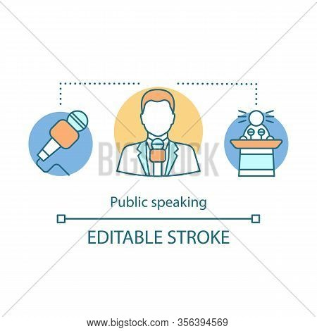 Public Speaking Concept Icon. Oratory Idea Thin Line Illustration. Leadership. Leader Skills. Politi
