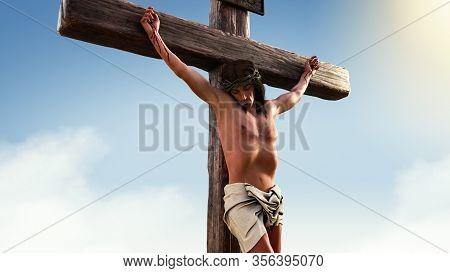 Close Up Of Jesus Christ On The Cross, Inri, 3d Render Illustration.