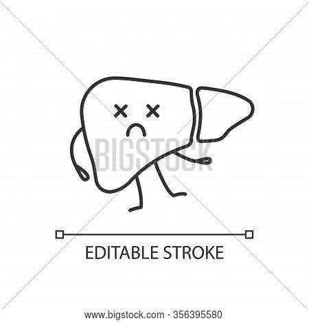 Dead Liver Emoji Linear Icon. Thin Line Illustration. Hepatitis, Cirrhosis. Unhealthy Digestive Glan