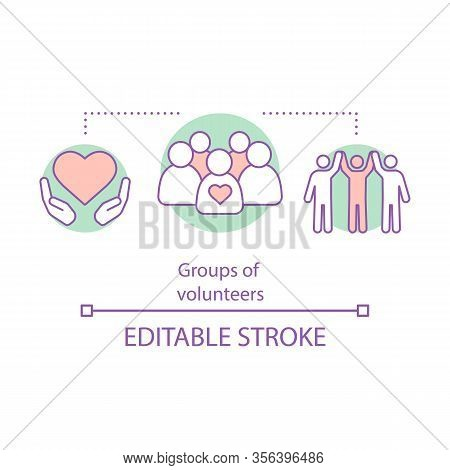Charitable Foundation Concept Icon. Groups Of Volunteers Idea Thin Line Illustration. Charity. Nonpr