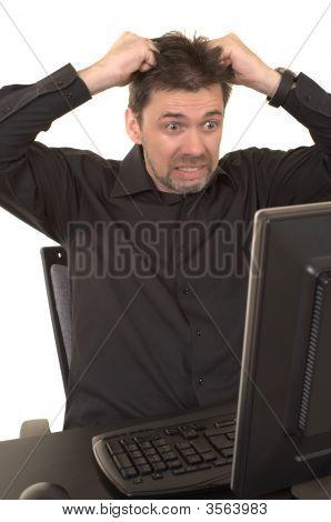 Angry Man Looking At Computer