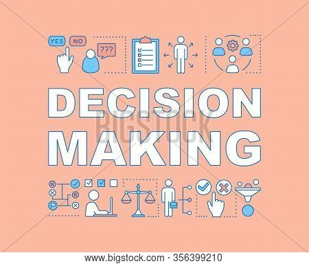 Decision Making Word Concepts Banner. Hr Soft Skills. Decisiveness, Planning, Teamwork. Isolated Let