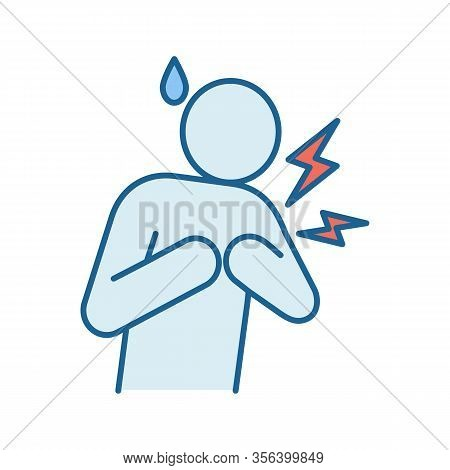 Heart Attack Color Icon. Myocardial Infarction. Cardiovascular Disease. Congestive Heart Failure. Co