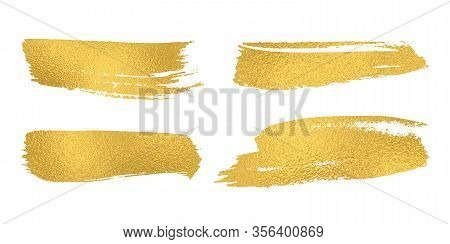 Set Of Vector Sparkle Golden Mascara Brush Strokes. Luxury Decor Of Gold Shiny Foil. Collection Of G